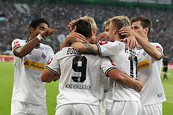 19.08.2011,  BorussiaPark, Mönchengladbach, GER, 1.FBL, Borussia Mönchengladbach vs Vfl Wolfsburg, im Bild.Torjubel / Jubel  nach dem 1:1 durch Marco Reuss (Mönchengladbach #11) (2R) mit Raul Bobadilla (Mönchengladbach #9) und Dante (Mönchengladbach #31) (L)..// during the 1.FBL, Borussia Mönchengladbach vs Vfl Wolfsburg on 2011/08/19, BorussiaPark, Mönchengladbach, Germany. EXPA Pictures © 2011, PhotoCredit: EXPA/ nph/  Mueller *** Local Caption ***            ****** out of GER / CRO  / BEL ******