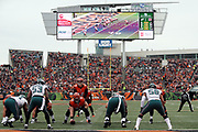 The scoreboard and end zone seats appear in the background as the Cincinnati Bengals offensive line gets set at the line of scrimmage opposite the Philadelphia Eagles defensive line during the 2016 NFL week 13 regular season football game against the Philadelphia Eagles on Sunday, Dec. 4, 2016 in Cincinnati. The Bengals won the game 32-14. (©Paul Anthony Spinelli)