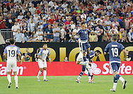 HOUSTON, TEXAS - JUNE 21:  Marcos Rojo #16 of Argentina heads the ball during play in the second half before the Semifinal match between Argentina and US at NRG Stadium as part of Copa America Centenario US 2016 on June 21, 2016 in Houston, Texas, US. (Photo by Thomas B. Shea/LatinContent/Getty Images)