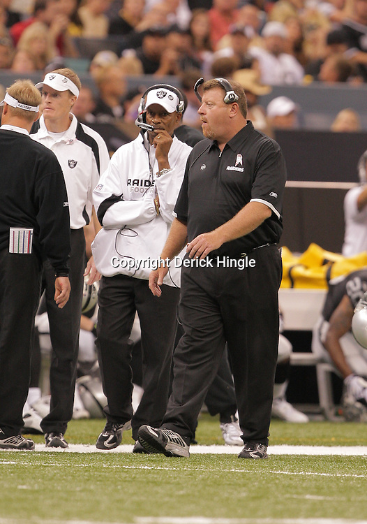 2008 October, 12: Oakland Raiders Head Coach Tom Cable on the sideline during a week six regular season game between the Oakland Raiders and the New Orleans Saints at the Louisiana Superdome in New Orleans, LA.