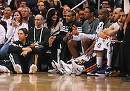Feb. 4, 2012; Phoenix, AZ, USA; Phoenix Suns guard Steve Nash (left) sits on the court along side forward Grant Hill (33), Hakim Warrick (21) , and Channing Frye (8) while playing against the Charlotte Bobcats during the second half at the US Airways Center. The Suns defeated the Bobcats 95 - 89. Mandatory Credit: Jennifer Stewart-US PRESSWIRE.