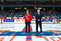 KAMLOOPS, CANADA - NOVEMBER 5:  WHL Commissioner Ron Robison stands at centre ice for the ceremonial puck drop between against the Team Russia and Team WHL  on November 5, 2018 at Sandman Centre in Kamloops, British Columbia, Canada.  (Photo by Marissa Baecker/Shoot the Breeze)
