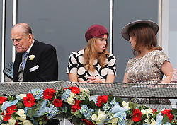 Duke of Edinburgh and Princess's Beatrice and Eugenie in the Royal Box at the Epsom Derby in Epsom, England, Saturday 1st June 2013 Picture by Stephen Lock / i-Images