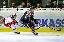 18.09.2015, Messestadion, Dornbirn, AUT, EBEL, Dornbirner Eishockey Club vs EC Red Bull Salzburg, 3. Runde, im Bild v.l.: Alexandre Cijan (EC Red Bull Salzburg) und Olivier Magnan Grenier, (Dornbirner Eishockey Club) // during the Erste Bank Icehockey League 3rd round match between Dornbirner Eishockey Club vs EC Red Bull Salzburg at the Messestadion in Dornbirn, Austria on 2015/09/18. EXPA Pictures © 2015, PhotoCredit: EXPA/ Peter Rinderer