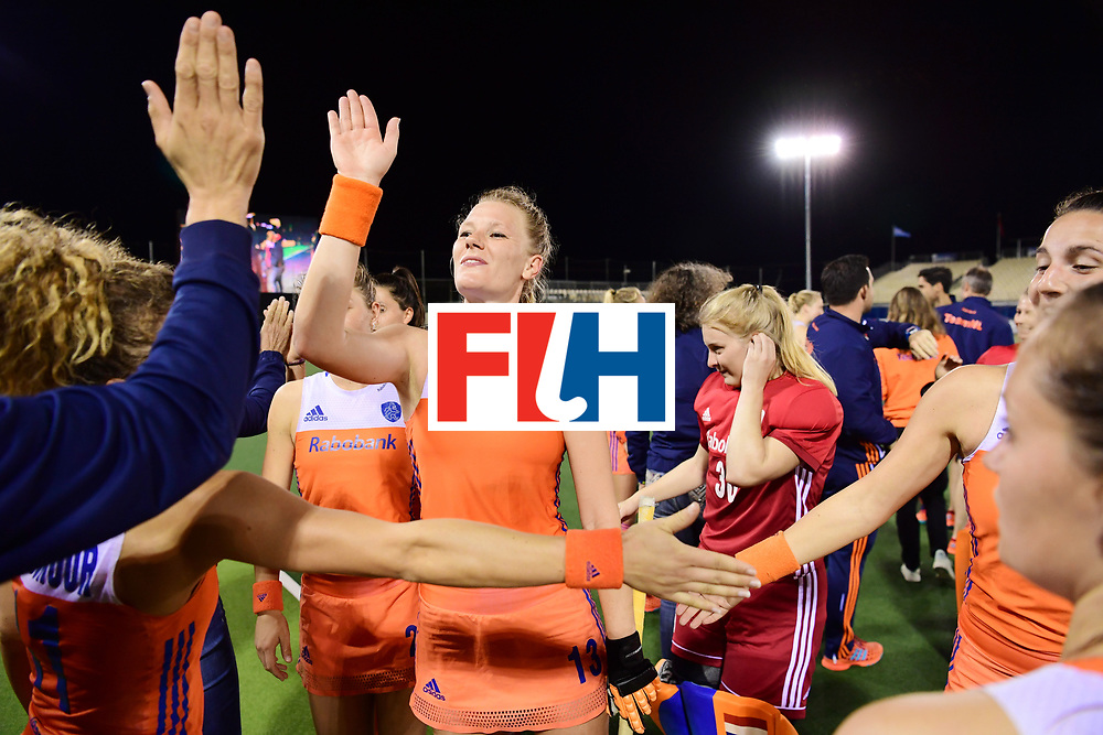 AUCKLAND - Sentinel Hockey World League final women<br /> Match id: 10318<br /> 18 NED v KOR (Semi Final)<br /> Foto: Caia Van Maasakker  high five.<br /> WORLDSPORTPICS COPYRIGHT FRANK UIJLENBROEK