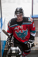 KELOWNA, CANADA - DECEMBER 6: Joe Gatenby #28 of the Kelowna Rockets leaves the ice after warm up against the Everett Silvertips on December 6, 2013 at Prospera Place in Kelowna, British Columbia, Canada.   (Photo by Marissa Baecker/Shoot the Breeze)  ***  Local Caption  ***   Joe Gatenby;