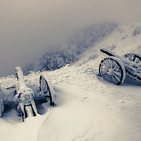 Old cannons in the snow