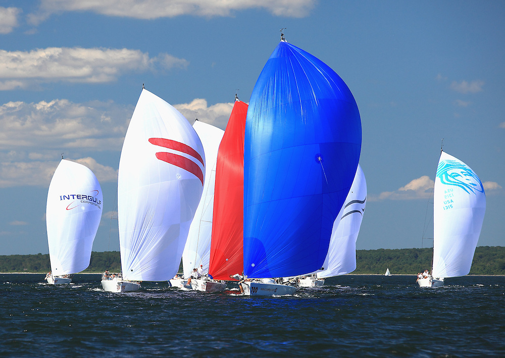 Melges 32s compete in the North American Championship in Narragansett Bay.