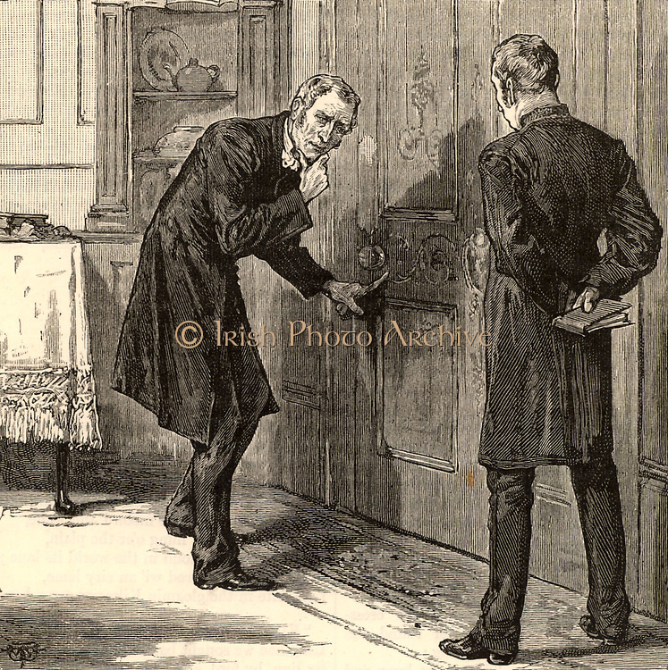 Sergeant Cuff examining Miss Verrinder's boudoir. 'He laid one lean inquiring finger on the small smear.'  1883 illustration for  'The Moonstone' by Wilkie Collins. First published in 1868 and said by TS Eliot to be the 'the first and greatest of English detective novels'.