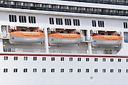 Lifeboat on Carnival Destiny Cruise Ship docked in Roseau, Dominica