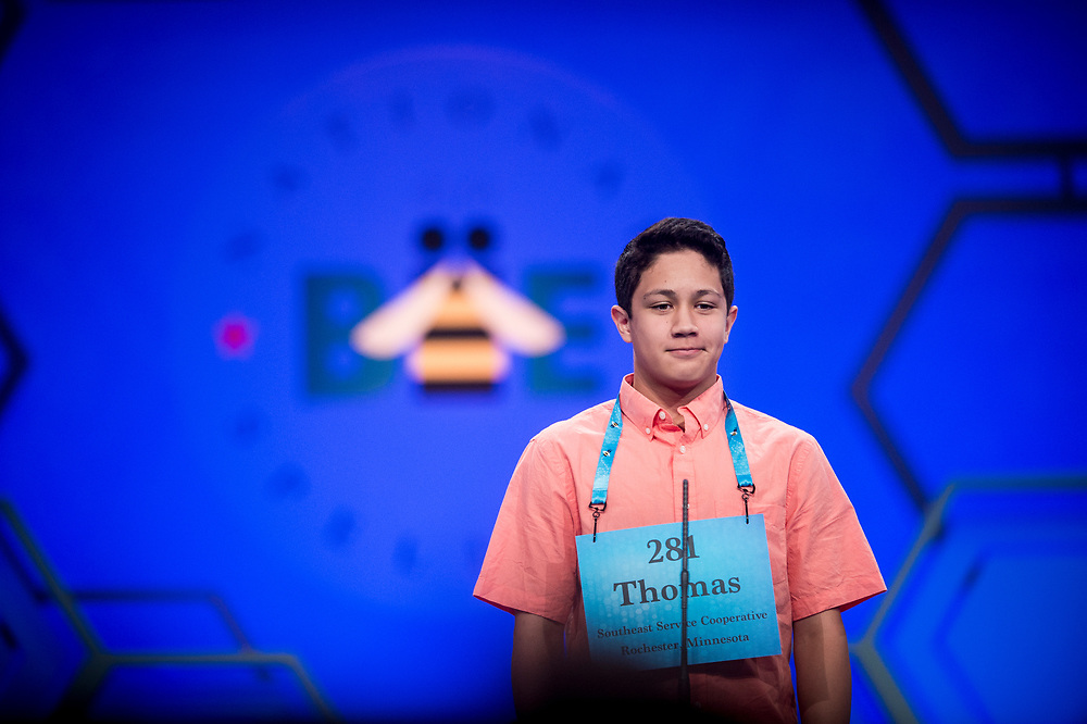 Thomas York, 14, from Rochester, Minn., participates in the finals of the 2017 Scripps National Spelling Bee on Thursday, June 1, 2017 at the Gaylord National Resort and Convention Center at National Harbor in Oxon Hill, Md.      Photo by Pete Marovich/UPI