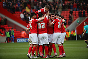 Charlton Athletic players celebrating Charlton Athletic defender, Harry Lennon (26) scoring opening goal during the Sky Bet Championship match between Charlton Athletic and Blackburn Rovers at The Valley, London, England on 23 January 2016. Photo by Matthew Redman.