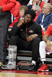 26 January 2016: Roland Griffin sits on the bench with his right leg in an orthopedic boot during the Illinois State Redbirds v Drake Bulldogs at Redbird Arena in Normal Illinois (Photo by Alan Look)