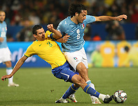 20090621: PRETORIA, SOUTH AFRICA - Italy vs Brazil: FIFA Confederations Cup 2009. In picture: Lucio (BRA) and Luca Toni (ITA). PHOTO: CITYFILES