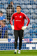 Radoslaw Majecki (#1) of Legia Warsaw warms up before the Europa League Play Off leg 2 of 2 match between Rangers FC and Legia Warsaw at Ibrox Stadium, Glasgow, Scotland on 29 August 2019.