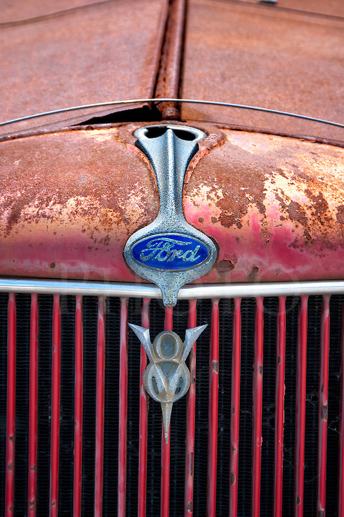 Old Truck Grille 1930s Red Ford Flatbed V8 Close Up Dierks Photo
