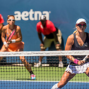 August 22, 2016, New Haven, Connecticut: <br /> Darija Jurak and Anastasia Rodionova in action during a US Open National Playoffs match on Day 4 of the 2016 Connecticut Open at the Yale University Tennis Center on Monday August  22, 2016 in New Haven, Connecticut. <br /> (Photo by Billie Weiss/Connecticut Open)