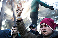 "Milad Darvish, a asylum seeker from Iran, hold up his hand, which reads ""I want freedom,"" to Greek riot police on December 3, 2015 during a protest at the Greek border crossing to Macedonia."
