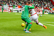 Celtic FC Defender Saidy Janko getting fouled by Hamilton Academical Midfielder Gramoz Kurtaj during the Ladbrokes Scottish Premiership match between Hamilton Academical FC and Celtic at New Douglas Park, Hamilton, Scotland on 4 October 2015. Photo by Craig McAllister.