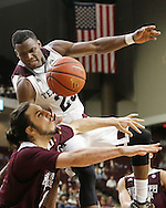 Feb 24, 2016; College Station, TX, USA; Texas A&M Aggies guard Danuel House (23) is fouled by Mississippi State Bulldogs forward Johnny Zuppardo (4) in the second half at Reed Arena. Texas A&M Aggies won 68 to 66. Mandatory Credit: Thomas B. Shea-USA TODAY Sports