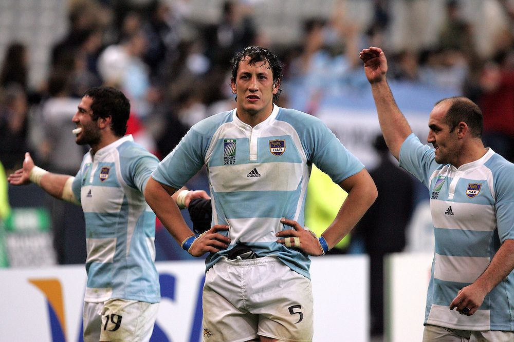 Patrico Alabcete celebrates at the end of the match. Argentina v Scotland (19 - 13) Stade de France, St Dennis, 07/10/2007, Quarter Final Match 44. Rugby World Cup 2007..