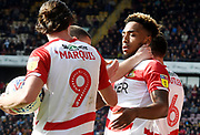 Mallik Wilks celebrates his goal with tam mates during the EFL Sky Bet League 1 match between Bradford City and Doncaster Rovers at the Northern Commercials Stadium, Bradford, England on 6 April 2019.