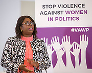 Emmalin Pierre (Minister of Youth & Sport, Grenada) Session 5: HOW WOMEN IN PARTY YOUTH WINGS ARE AFFECTED 'Violence Against Women in Politics' Conference, organised by all the UK political parties in partnership with the Westminster Foundation for Democracy, 19th and 20th of March 2018, central London, UK.  (Please credit any image use with: © Andy Aitchison / WFD