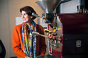 Robin Pollard with her Deidrich Coffee Roaster, roasts and custom blends of specially sourced coffee beans.