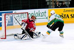 Luka Zagar vs Miha Bajt during ice-hockey friendly match between legends of HDD Tilia Olimpija and HK Acroni Jesenice, on April 14, 2012 at SRC Stozice, Ljubljana, Slovenia. (Photo By Matic Klansek Velej / Sportida.com)