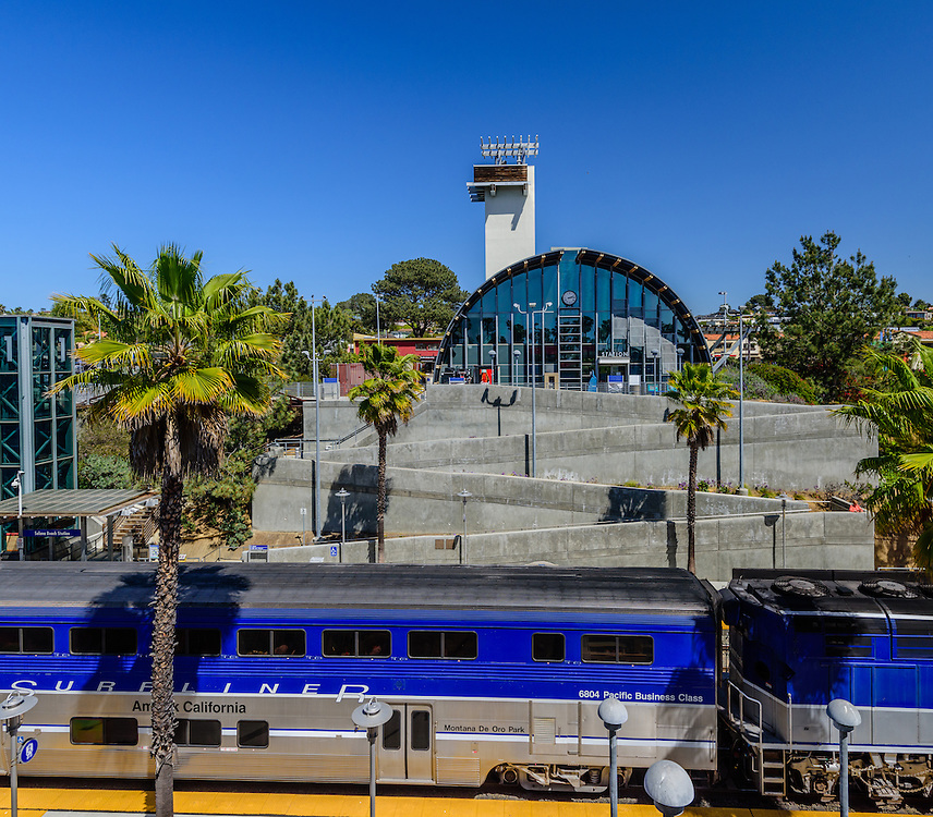 The exterior of the Solana Beach Station, Solana Beach, CA station was designed by architect Rob Wellington Quigley