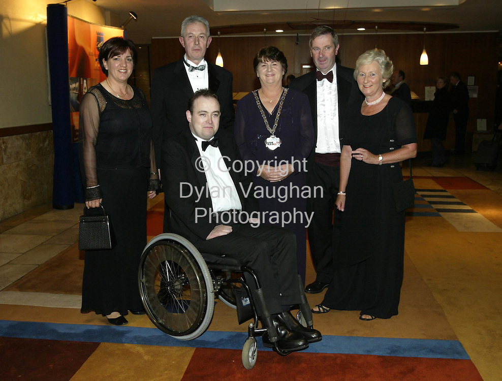 21/10/2002.Pictured at the Chairwomans Ball in aid of the Irish Wheelchair Association at the Kilkenny Ormonde Hotel was from left Marie and Seamus Costello of Murphy Jewellers, Michael Doyle Irish Wheelchair Association, Cathaoirleach of Kilkenny County Council, Cllr. Teresa Mullen ,John Boucher Hayes Irish Wheelchair Association and Ann Boucher-Hayes..Picture Dylan Vaughan