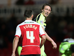 Yeovil Town's Luke Ayling and Doncaster Rovers' Dean Furman swap opinions - Photo mandatory by-line: Matt Bunn/JMP - Tel: Mobile: 07966 386802 22/11/2013 - SPORT - Football - Doncaster - Keepmoat Stadium - Doncaster Rovers v Yeovil Town - Sky Bet Championship