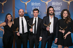 February 17, 2019 - Los Angeles, California, United States of America - (2nd L-R) Eric Notarnicola, Nathan Fielder, Leo Allen, and Carrie Kemper, winners of Comedy/Variety Sketch Series, pose in the press room of the 2019 Writers Guild Awards at the Beverly Hilton Hotel on Sunday February 17, 2019 in Beverly Hills, California. JAVIER ROJAS/PI (Credit Image: © Prensa Internacional via ZUMA Wire)