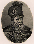 Matthias (Mateiu)  Basarab, enlightend ruler of Walachia 1633-1654. Engraving
