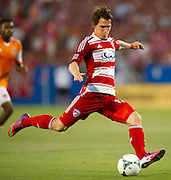 FRISCO, TX - JUNE 12:  Zach Loyd #17 of FC Dallas takes a shot on goal against the Houston Dynamo on June 12, 2013 at FC Dallas Stadium in Frisco, Texas.  (Photo by Cooper Neill/Getty Images) *** Local Caption *** Zach Loyd