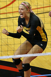 23 October 2010: Jackie Church reacts to a point for the Shockers during an NCAA, Missouri Valley Conference volleyball match between the Wichita State Shockers and the Illinois State Redbirds at Redbird Arena in Normal Illinois.