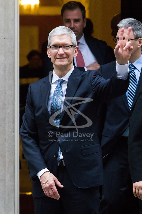 Downing Street, London, February 9th 2017. Apple CEO Tim Cook leaves 10 Downing Street, official residence of British Prime Minister Theresa May.