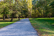 A gravel path leads to a hiking trail in Great Falls park, McLean, VA.