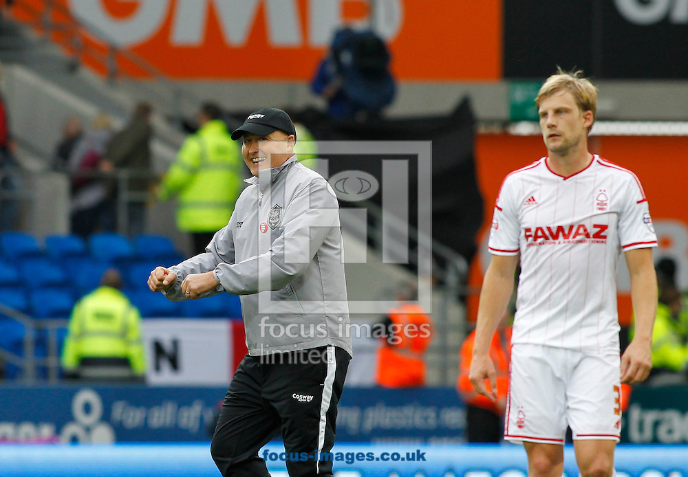 Russell Slade, Manager of Cardiff City celebrates the win against Nottingham Forest during the Sky Bet Championship match at the Cardiff City Stadium, Cardiff<br /> Picture by Mike  Griffiths/Focus Images Ltd +44 7766 223933<br /> 18/10/2014