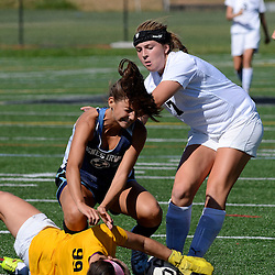 Staff photos by Tom Kelly IV<br /> Strath Haven's Maddy Tannert-Schmidt (7) collides with Agnes Irwin's (12) before they both hit Agnes Irwin goal keeper Kendall Shein during the Agnes Irwin School vs Strath Haven girls soccer scrimmage in Nether Providence Township, Thursday August 28, 2014.