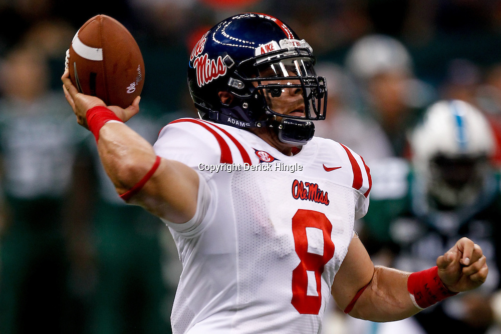 Sep 11, 2010; New Orleans, LA, USA; Mississippi Rebels quarterback Jeremiah Masoli (8) throws the ball during a game against the Tulane Green Wave at the Louisiana Superdome. The Mississippi Rebels defeated the Tulane Green Wave 27-13.  Mandatory Credit: Derick E. Hingle