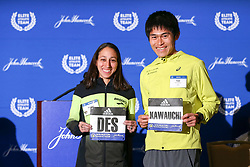 press conference Des Linden, Yuki Kawauchi, defending champions Boston Marathon weekend