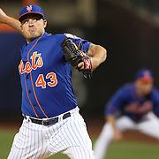 NEW YORK, NEW YORK - APRIL 11: Pitcher Addison Reed, New York Mets, pitching during the Miami Marlins Vs New York Mets MLB regular season ball game at Citi Field on April 11, 2016 in New York City. (Photo by Tim Clayton/Corbis via Getty Images)