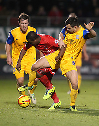 Leyton Orient's Kevin Lisbie battles for the ball with Preston North End's Bailey Wright - Photo mandatory by-line: Robin White/JMP - Tel: Mobile: 07966 386802 16/11/2013 - SPORT - FOOTBALL - Brisbane Stadium - Leyton - Leyton Orient v Preston North End - Sky Bet League One