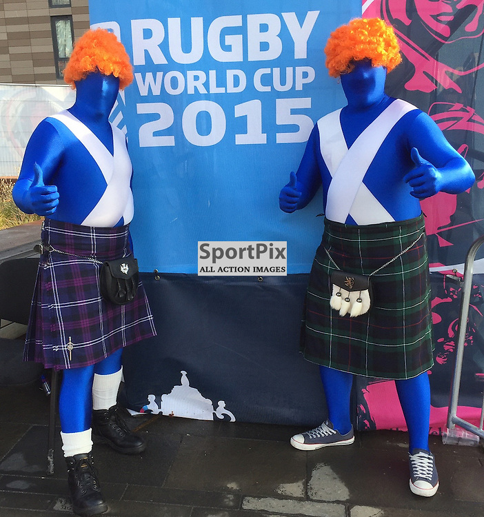 Two Scotland fans looking forward to an important victory. Scotland v Samoa, 10th October 2015