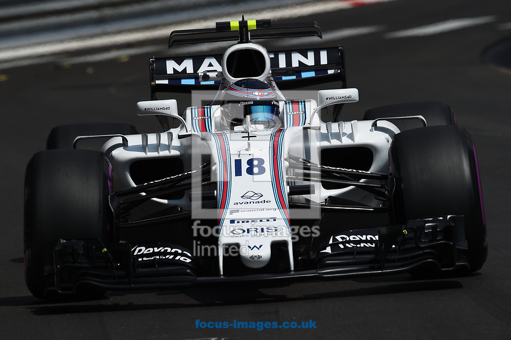 Lance Stroll of Williams Martini  during the practice session for the 2017 Monaco Formula One Grand Prix at the Circuit de Monaco, Monte Carlo<br /> Picture by EXPA Pictures/Focus Images Ltd 07814482222<br /> 25/05/2017<br /> *** UK & IRELAND ONLY ***<br /> <br /> EXPA-EIB-170525-0089.jpg