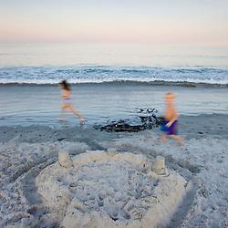 Kids at Hampton Beach in Hampton Beach, New Hampshire.