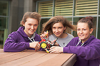 01/05/2015Orlaith Lyons, Orla Waters and Katie Burke from Colaiste Mhuire, Ennis Co Clare, their robot at the Irish Robotics Championship where over 450 second level students competed for the coveted trophy supported by  EA Games. Photo:Andrew Downes: XPOSURE