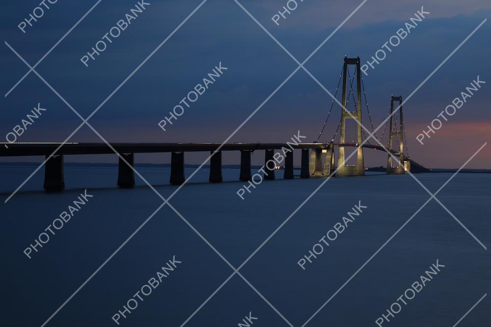 Storebæltsbroen bridge. The sun has just set