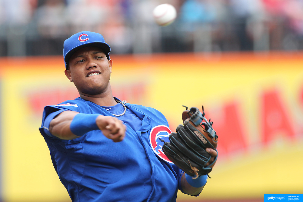 Starlin Castro, Chicago Cubs, warming up before the New York Mets Vs Chicago Cubs MLB regular season baseball game at Citi Field, Queens, New York. USA. 2nd July 2015. Photo Tim Clayton